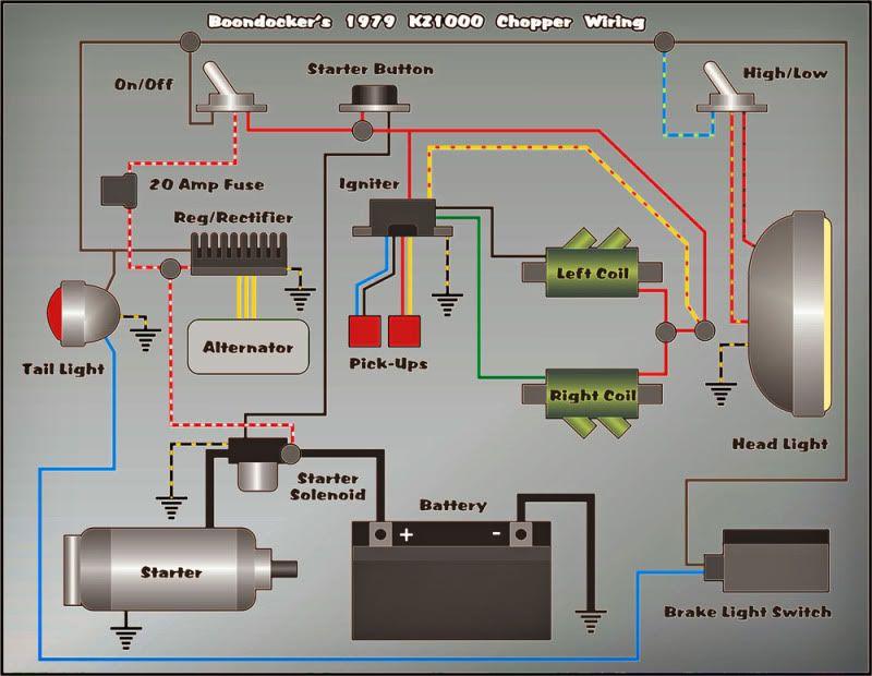 ez wiring 21 circuit diagram kz1000 | vehicle | vehicles, motorcycle, bike #4