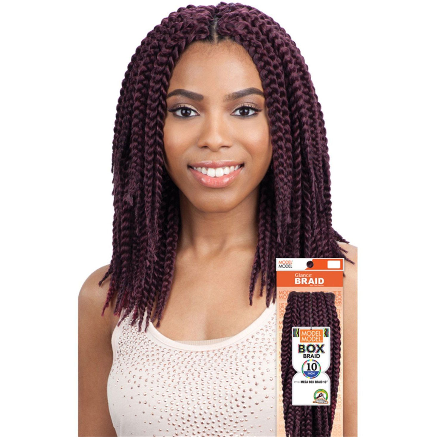 "Mega Box Braid 10"" Model Model Glance Synthetic Crochet"