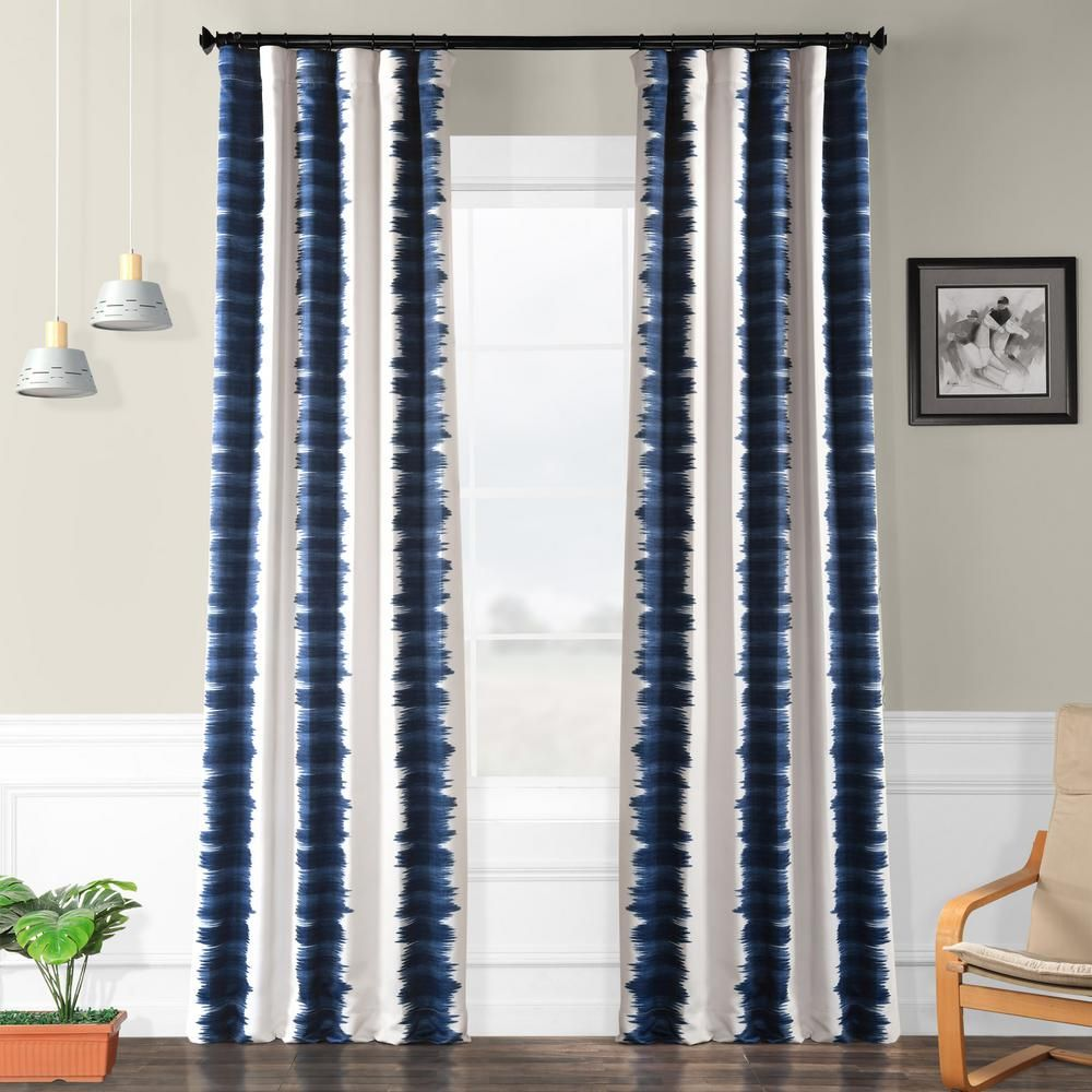 Exclusive Fabrics Furnishings Semi Opaque Flambe Blue Blackout