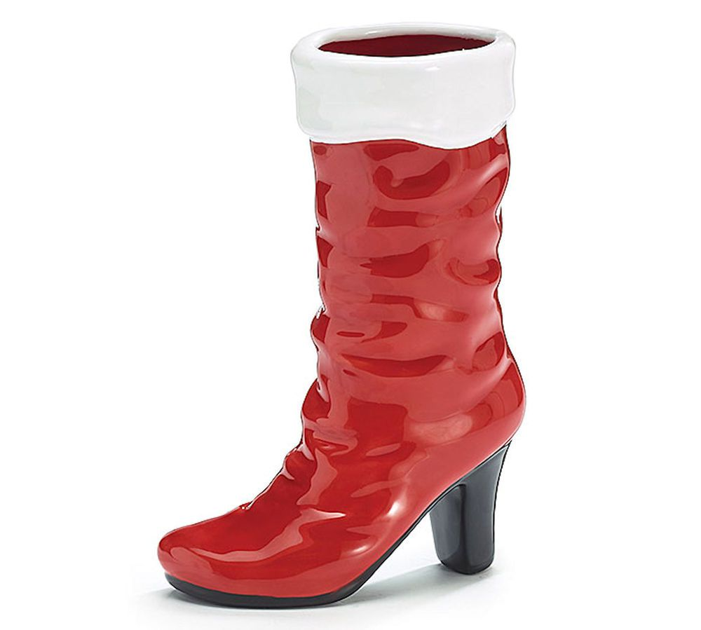 Mrs claus red ceramic high heel boot vase burtonburton christmas mrs claus red ceramic high heel boot vase burtonburton christmas centerpiece burton burton reviewsmspy