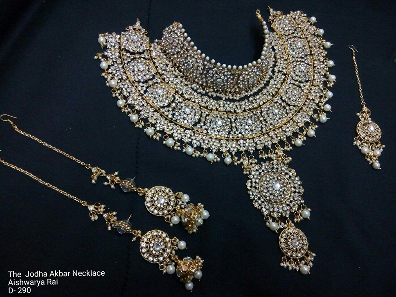 Indian Jodha Akbar Bridal Jewelry 3 Pcs Necklace Bollywood Kundan Sets