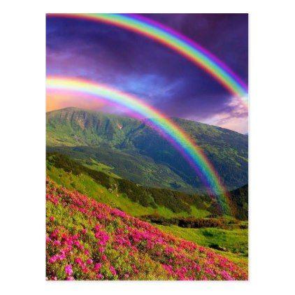 Double Rainbow Landscape Postcard