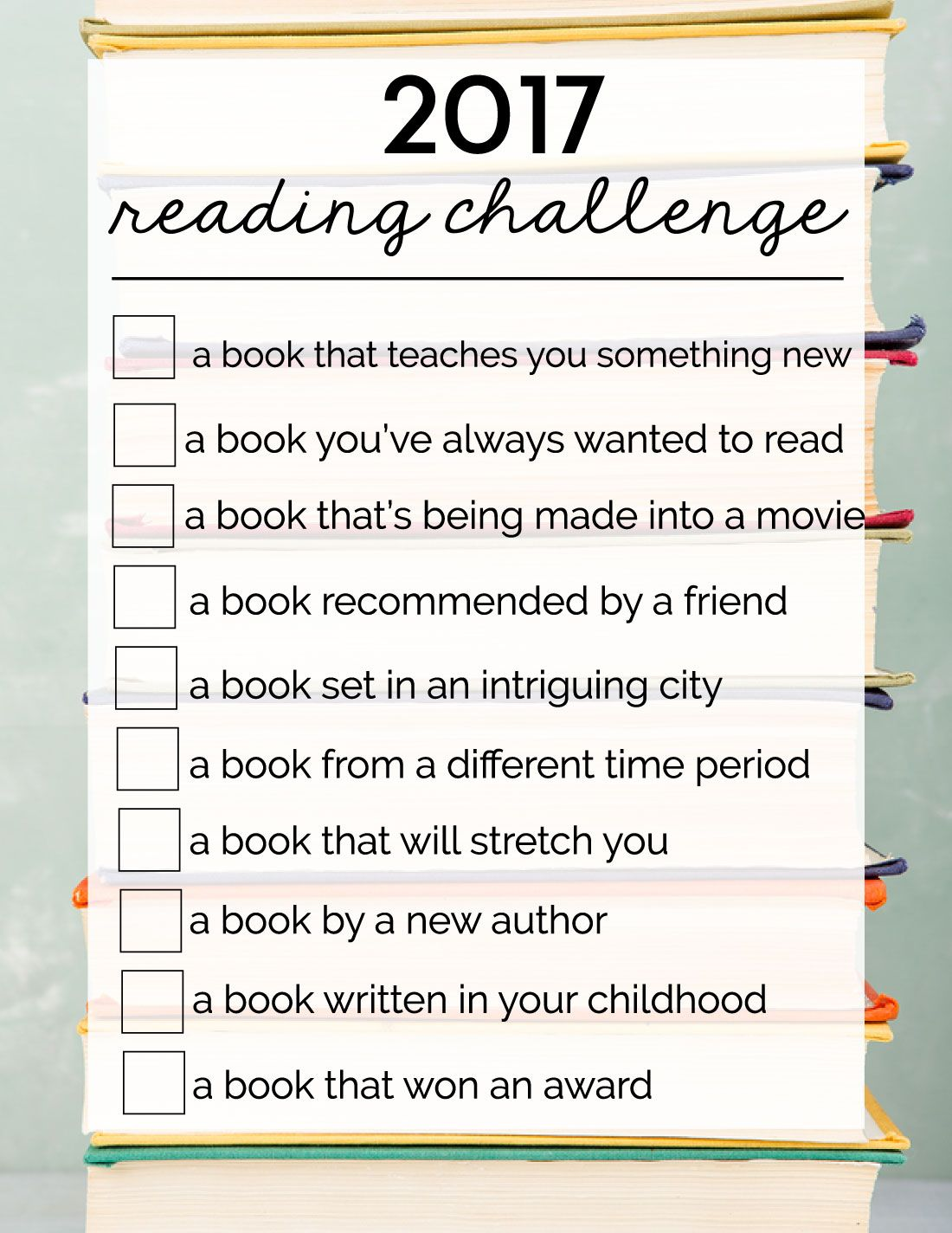 2017 Reading Challenge   Reading challenge, Learning and Books