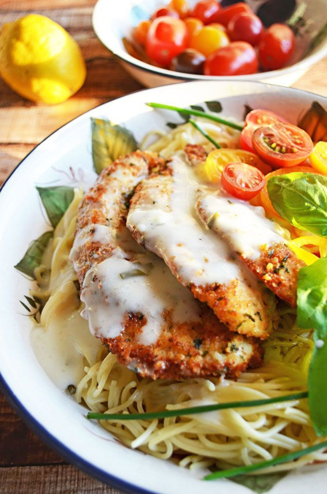 Parmesan Crusted Chicken with Herb Butter sauce. Rich & creamy. Pair it with angel hair pasta and crusty French bread and you will walk away from the table smiling:)