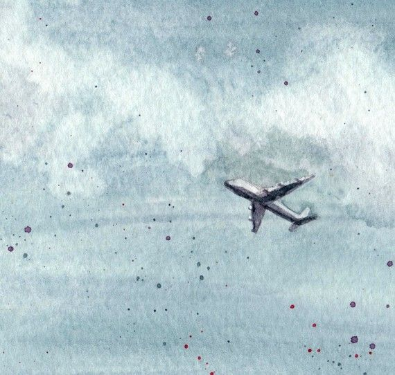 Airplane In The Sky Limited Edition Watercolor By Hallieluya
