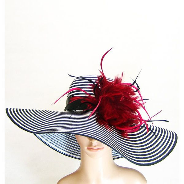 Derby Hat With Burgundy Red Feathers Kentucky Derby Hat Black White 60 Liked On Polyvore Derby Outfits Kentucky Derby Outfit Kentucky Derby Hats