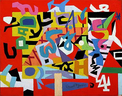 """Stuart Davis (b.1892 - d.1964, American), """"New York Mural Pad No. 4"""", Oil on Canvas, Size: 35.6 x 45.7 cm. (14 x 18 inches), at 'Brooklyn Museum of Art', New York City, Usa, (1947)."""