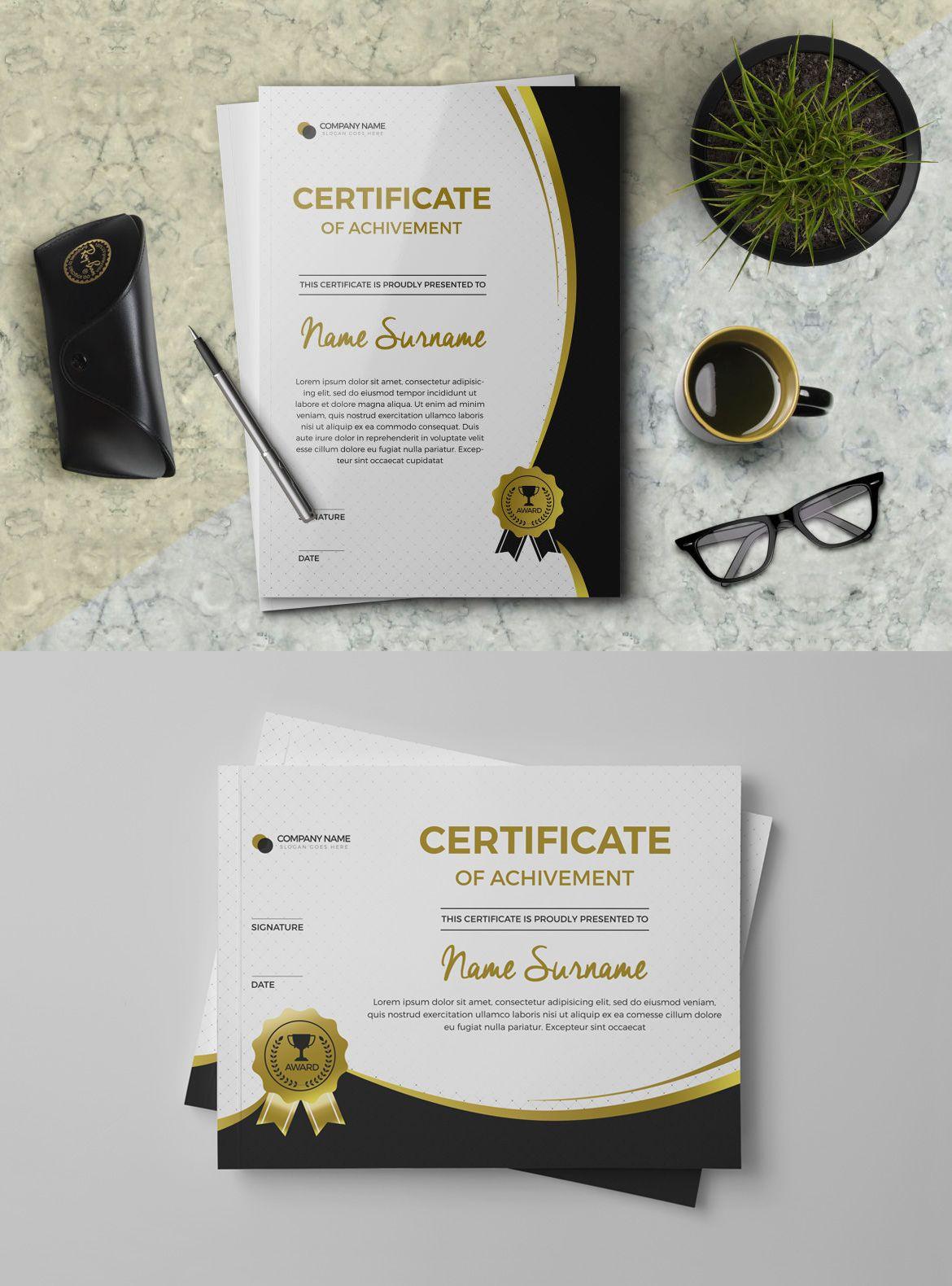 Elegant Achievement Certificate Template Psd  Certificate