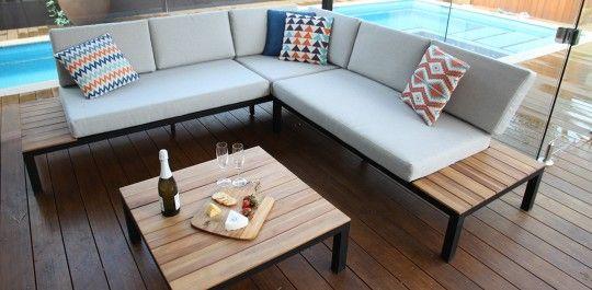 Oxford L shaped timber lounge setting Outdoor Furniture - lounge gartenmobel gunstig