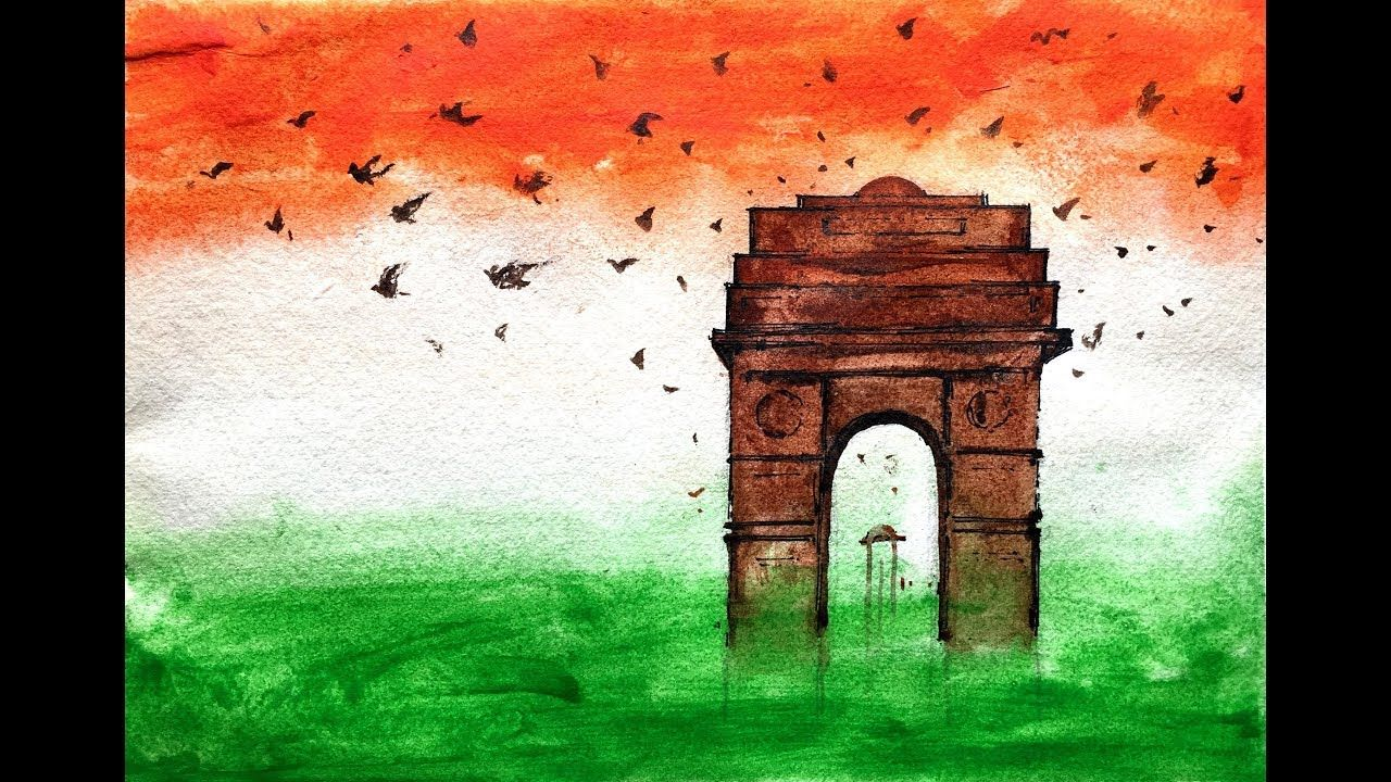 How To Draw Independence Day Painting India Gate Poster Colours