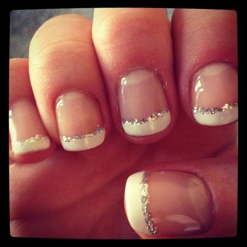 silver and white french tip for prom