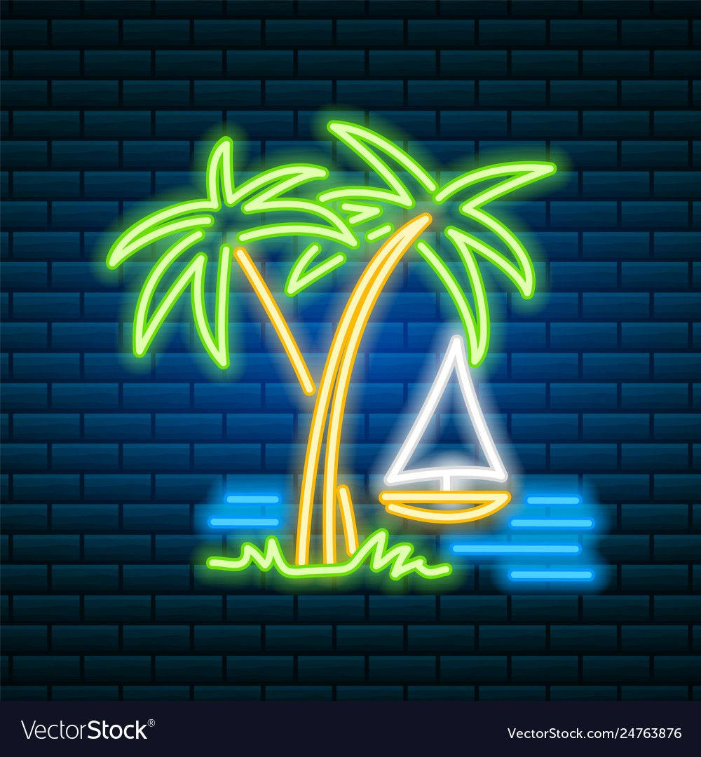Neon palm tropical sign summer plant leaves vector image on