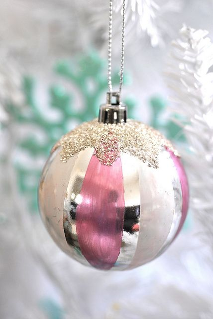 Pink Striped Vintage Christmas Ornament Vintage Christmas Ornaments Pink Christmas Vintage Christmas Tree Decorations