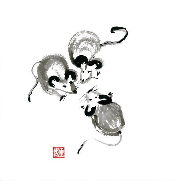 chinese zodiac year of the rat zen sumi ink brush by zenbrush take 10 with code pin10zen www. Black Bedroom Furniture Sets. Home Design Ideas
