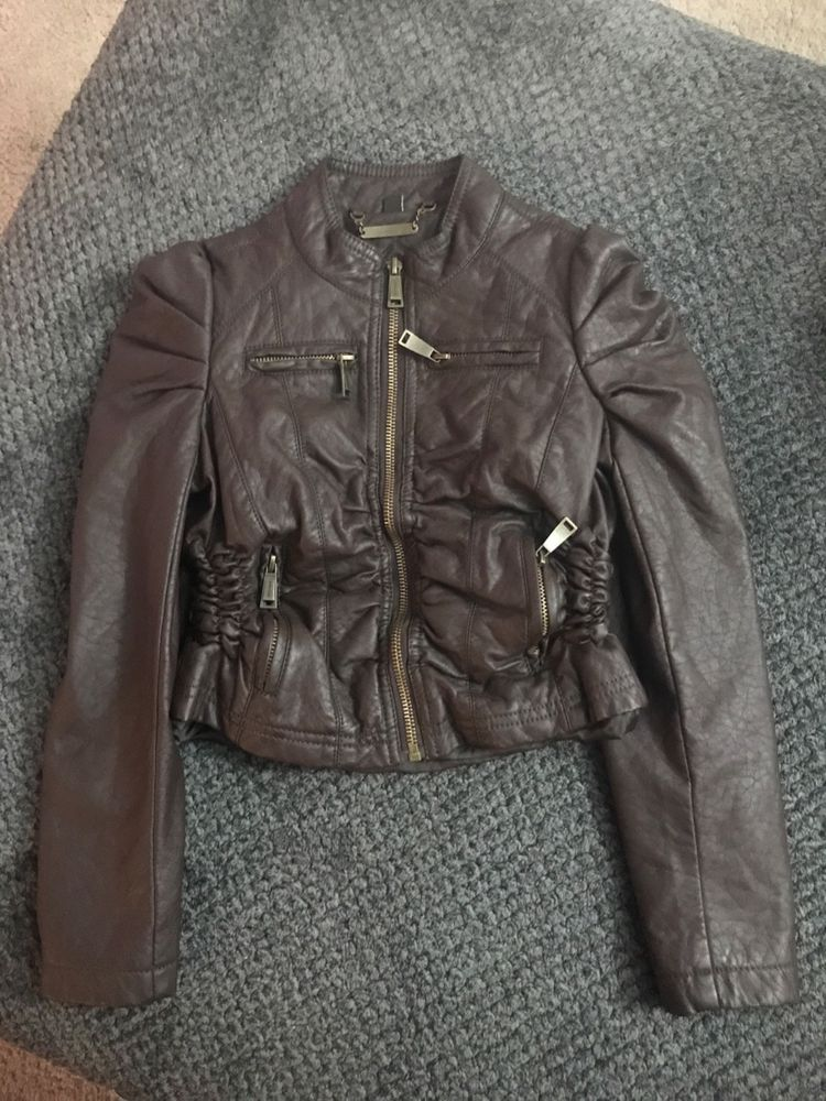 14a59bbc6 JouJou Cherry Brown Faux Leather Jacket girls kids Size small Used ...