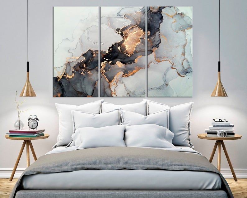Abstract Canvas Print Black And Gold Marble Wall Decor Modern Etsy In 2020 Black And Gold Marble Trendy Wall Art Marble Wall