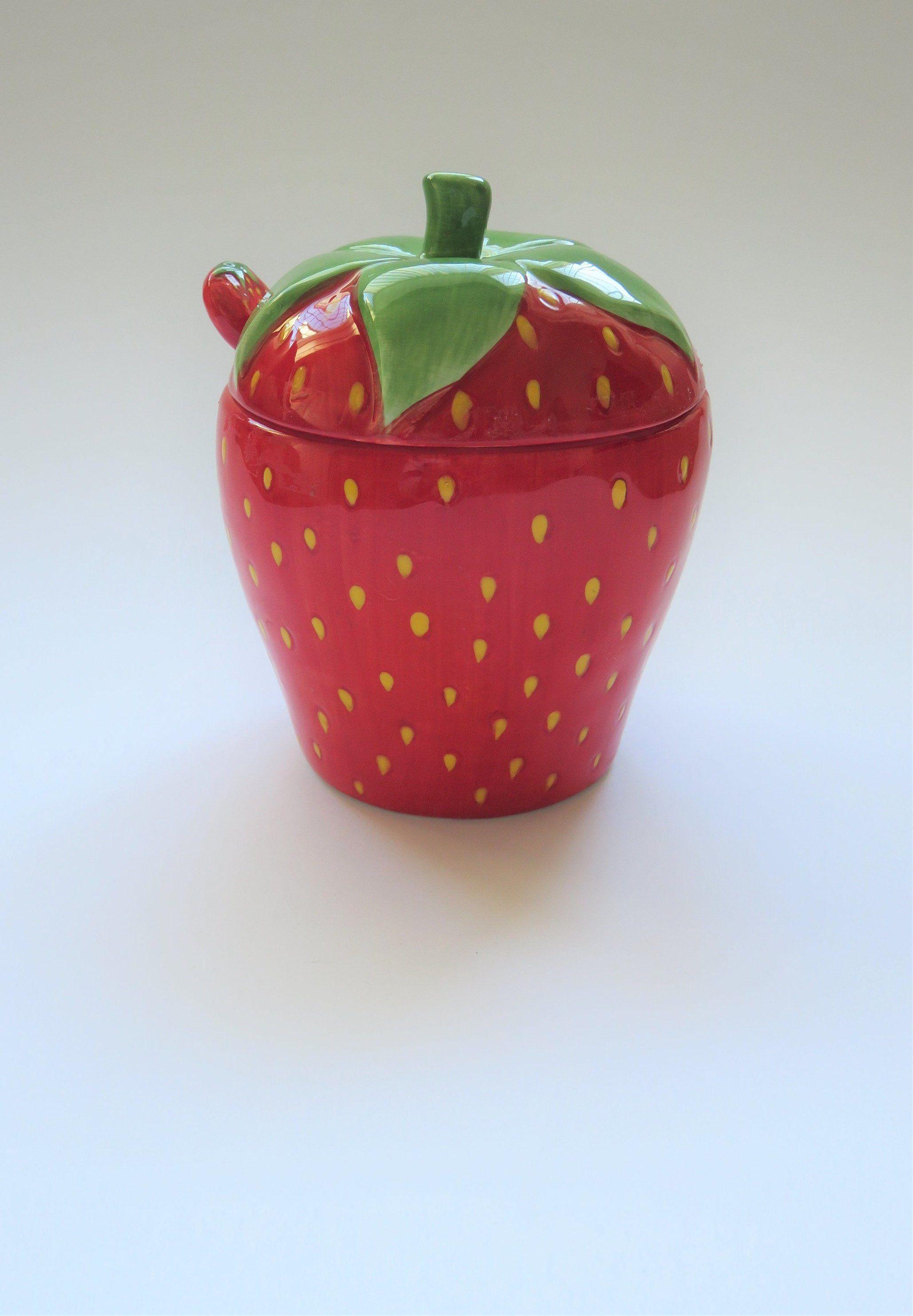 Retro Strawberry Shaped Preserve Jar And Spoon Jam Jelly Conserve Ceramic Pot Ceramic Pot Christmas Plates Ceramic Art