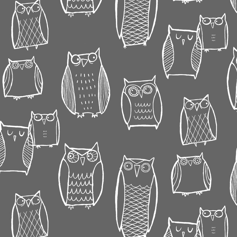 Woodland Owl Fabric (Little) Night Owl Gray/White By