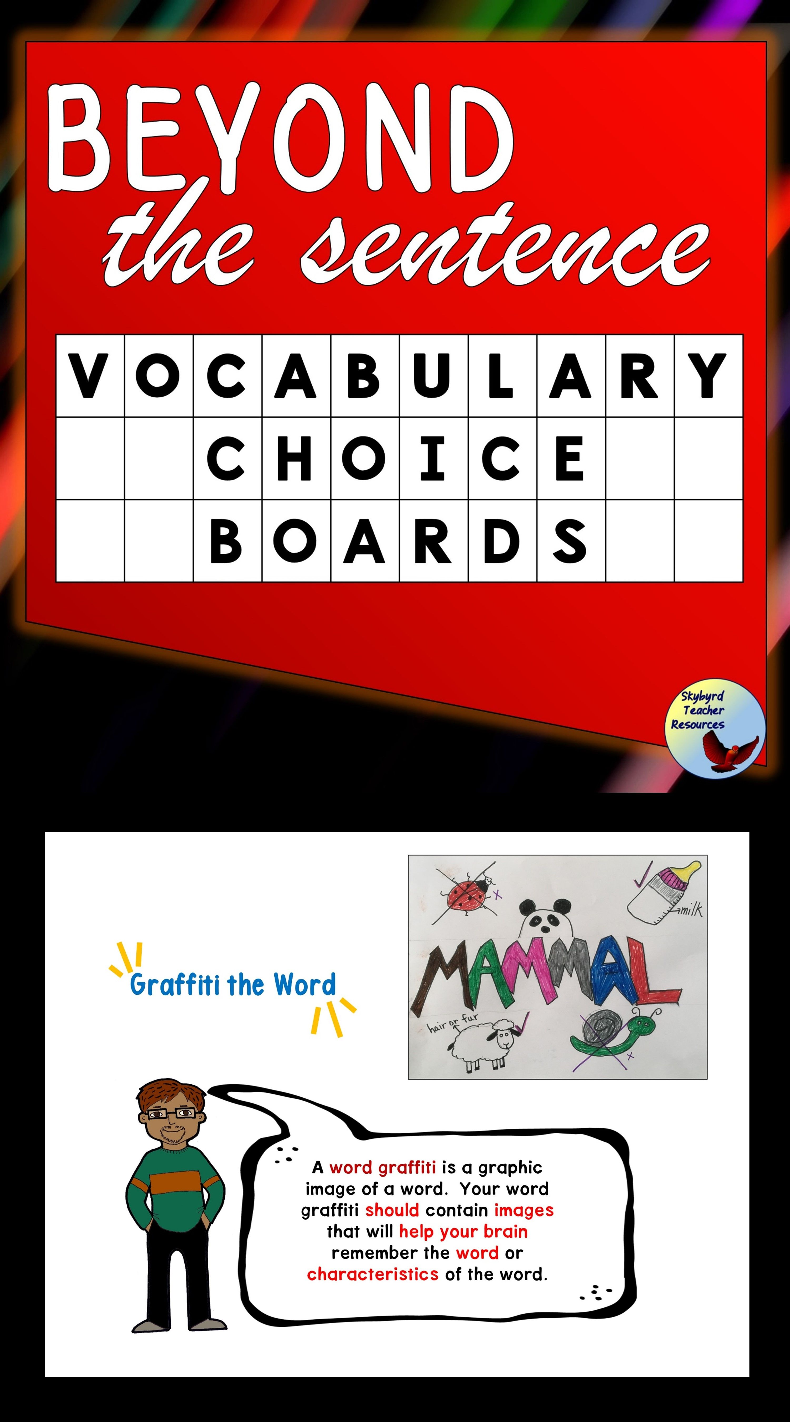Vocabulary Choice Board Use For Fast Finishers Homework