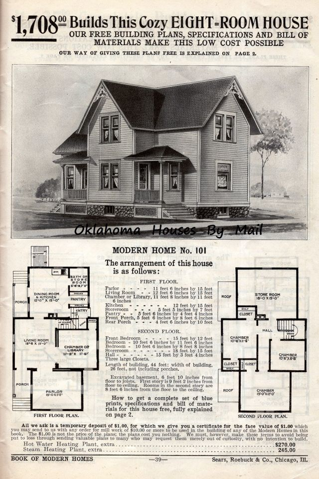 Two Sears Modern Homes Model 101 Built In 1908 House Plans With Pictures House Plans Craftsman House Plans
