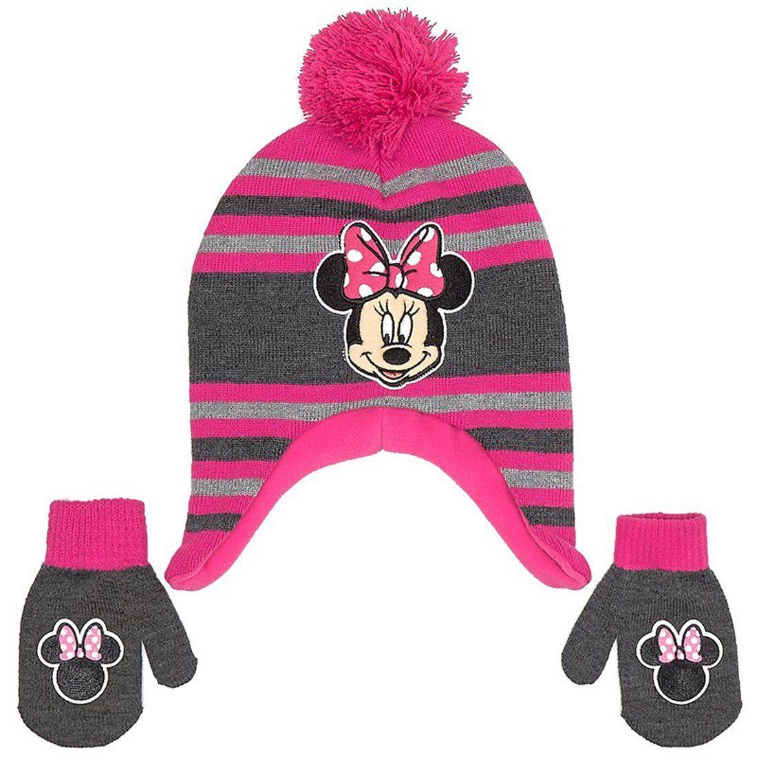 Disney Minnie Mouse Toddler Little Girls Pink Hat and Mitten Set. Super  cute fleece winter 18e54e426a25