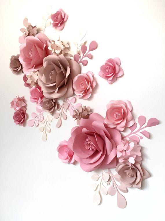 Hochzeitspapier Blumen-Papierblumenwand-Papierblumen-Set-Papierblumenrückfall-Papierblumenaufnahmelder-Empfang (Code: #130)