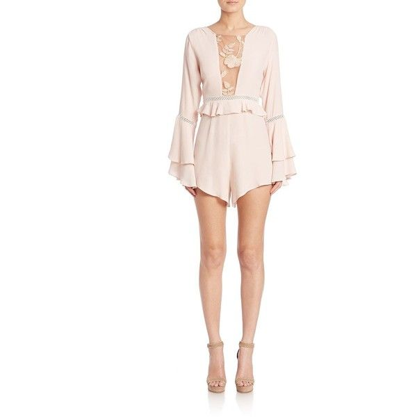 0d71792fe356 For Love   Lemons Emelia Long Sleeve Ruffled Romper ( 220) ❤ liked on Polyvore  featuring jumpsuits