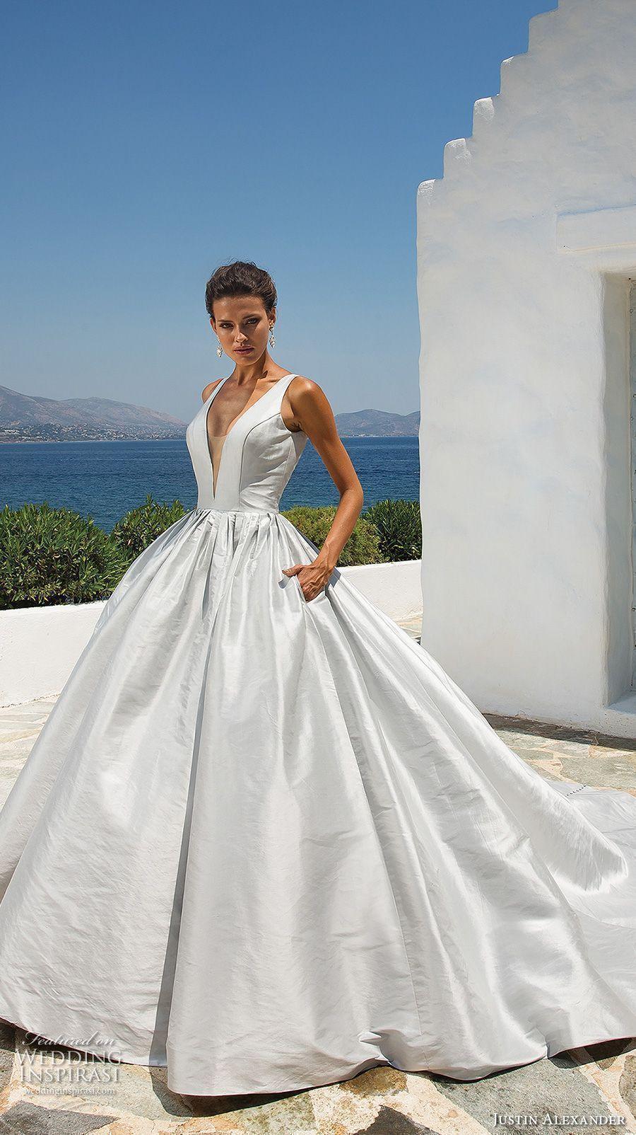 Justin alexander bridal sleeveless deep v neck clean simple