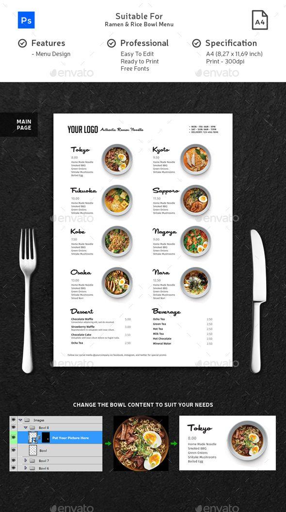 minimalist ramen rice bowl menu template psd best food menu