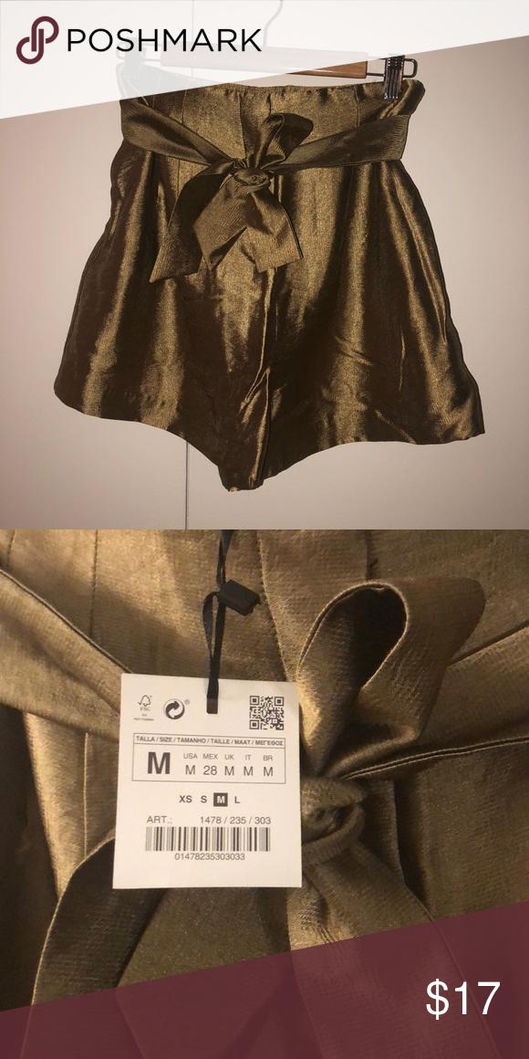 aac443d1ac1 Silk Gold Olive Shorts Zara (never worn tags still on) gold olive  (metallic) silk high-waisted shorts Zara Shorts