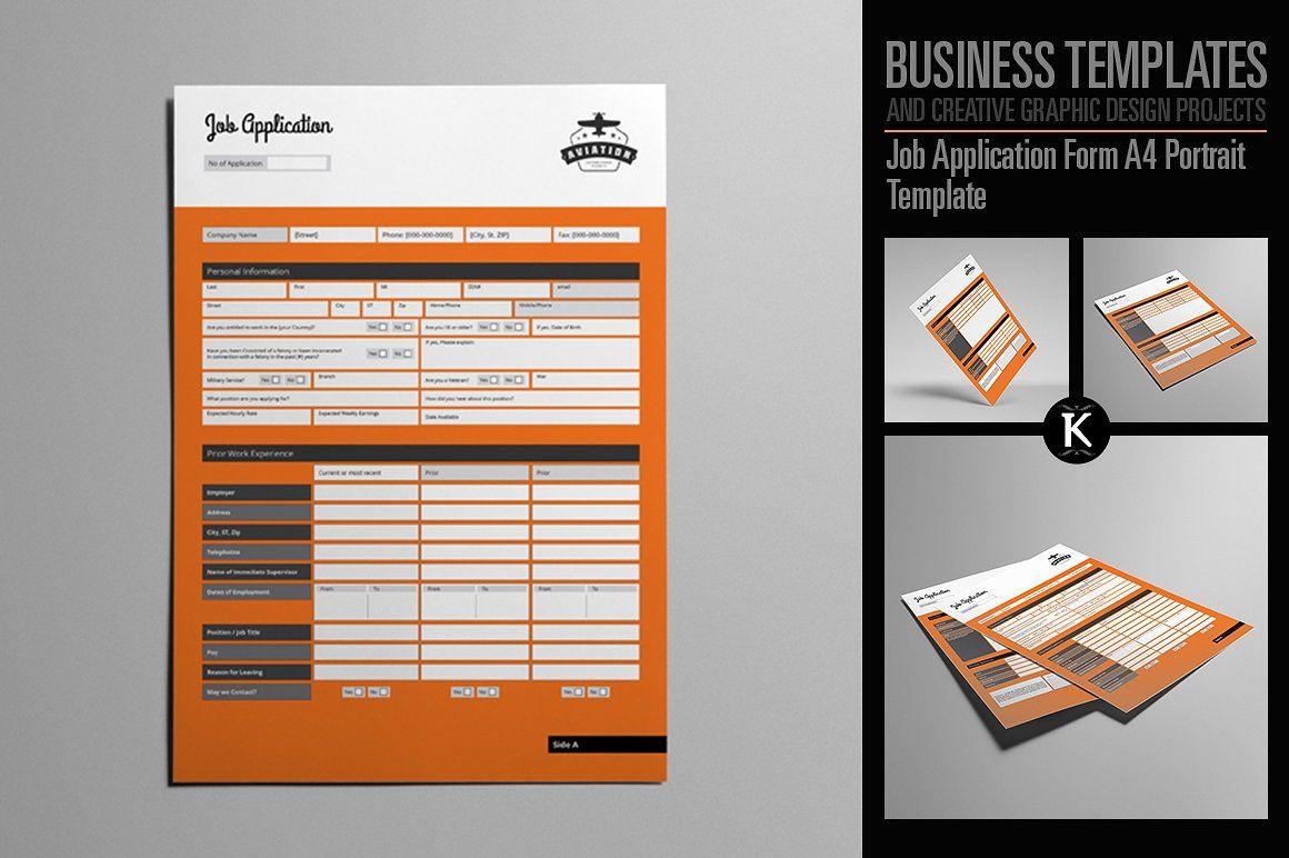 Job Application Form A4 Job application form, Job