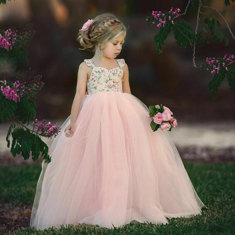 Girls Kids Princess Tulle Tutu Dresses Bridesmaid Evening Party Prom Ball Gown
