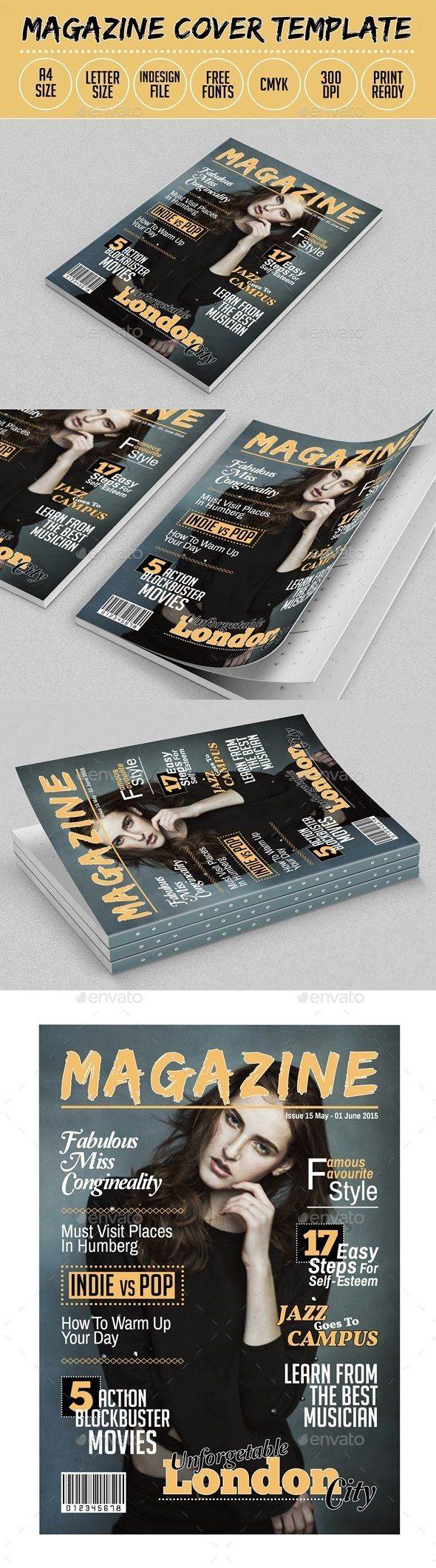 Magazine Cover Template Indesign | Magazine cover template, Template ...
