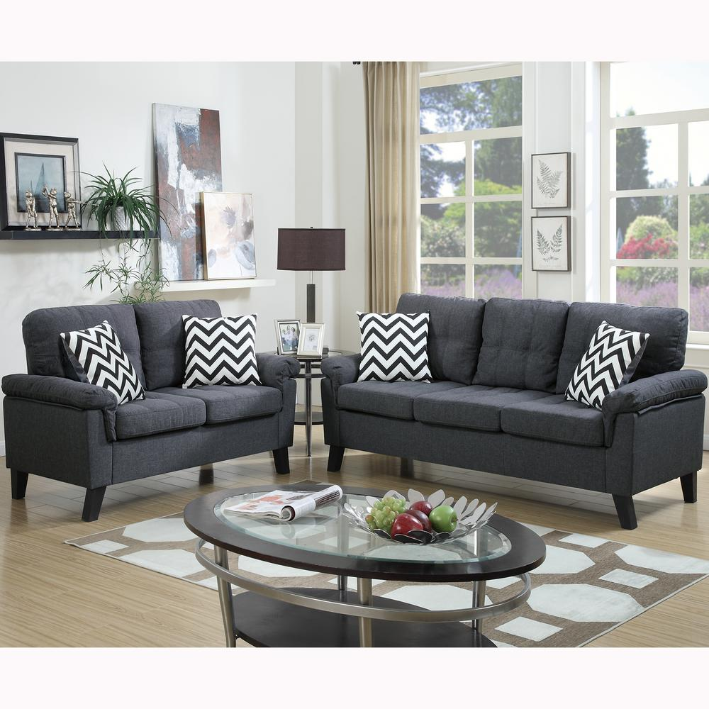 Venetian Worldwide Liguria 2 Piece Blue Gray Sofa Set Vene F6905 The Home Depot In 2020 Sofa And Loveseat Set Living Room Sets Couch And Loveseat
