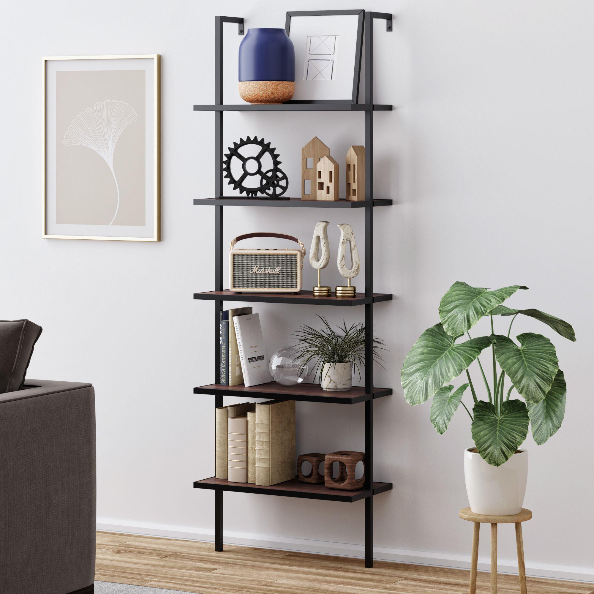 Nathan James Theo 5 Shelf Ladder Bookcase Walnut Brown Wood Black Metal Frame Walmart Com In 2021 Ladder Bookcase Shelves Modern Bookcase Metal and wood ladder shelf