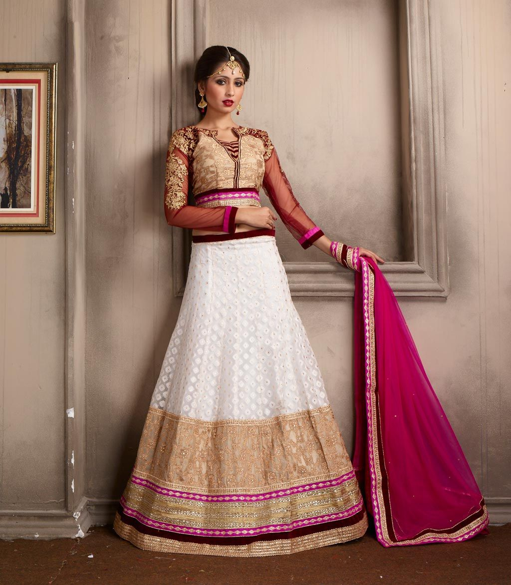 Wedding White Sarees Online: Off White Silk Wedding Lehenga Choli 59672