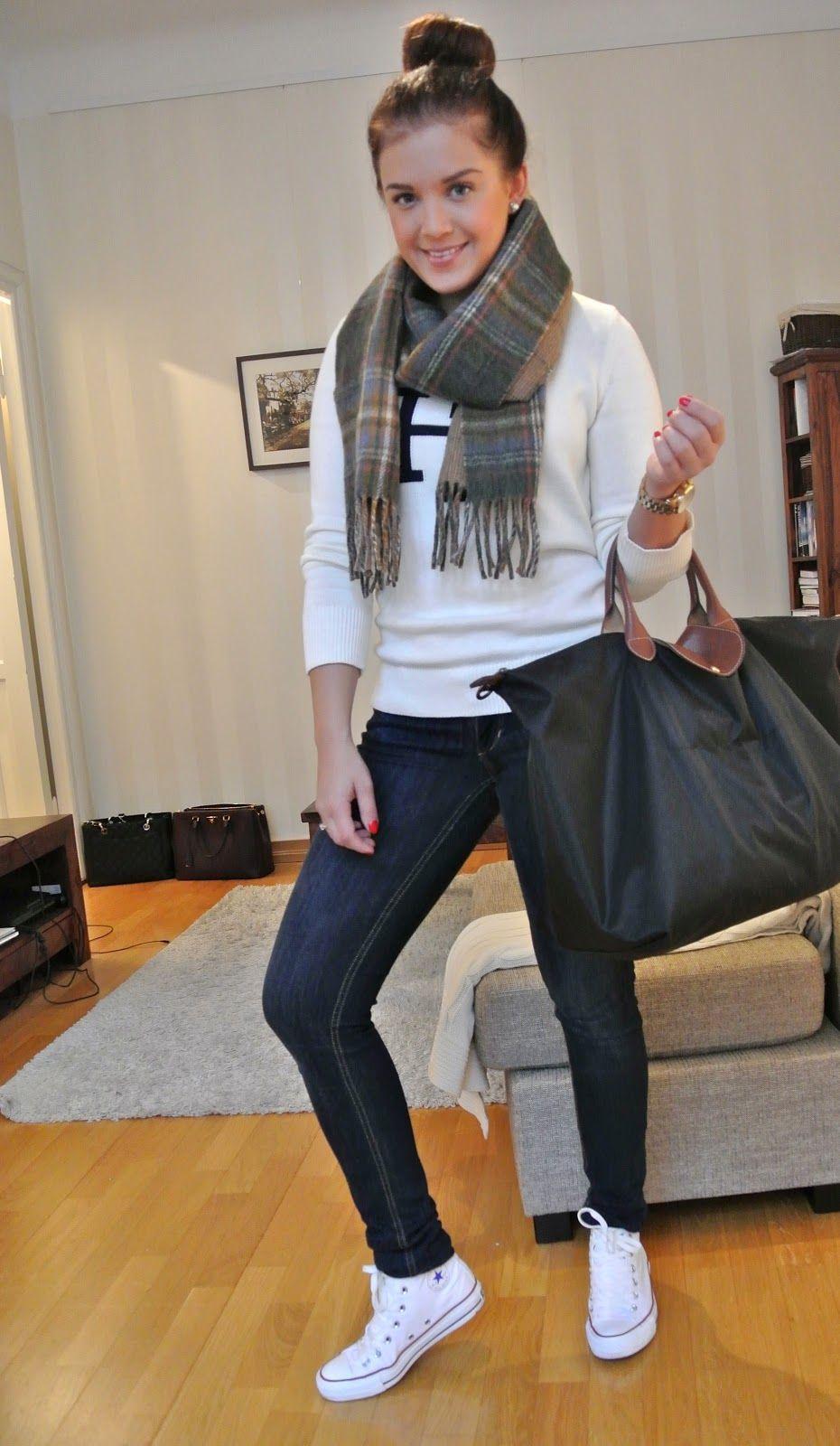 86931de4713 jeans •white converse •white sweater •longchamp bag •scarf