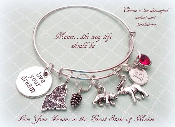 State Of Maine Bracelet Lover Gift By Hopeishipjewelry