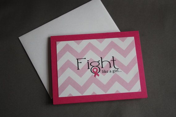 Fight Like a Girl Breast Cancer Awareness Chevron Print Greeting