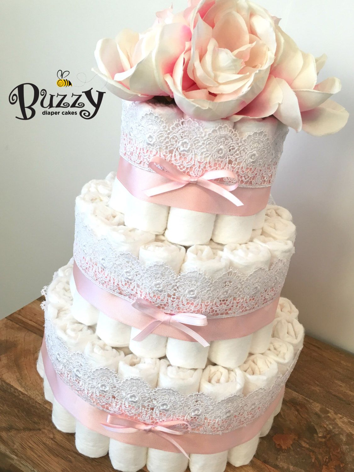 Vintage chic baby pink with lace diaper cake shabby chic for Pink diaper bouquet