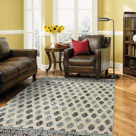 Shop allen + roth Kincora Beige Rectangular Indoor Area Rug (Common: 5 x 8
