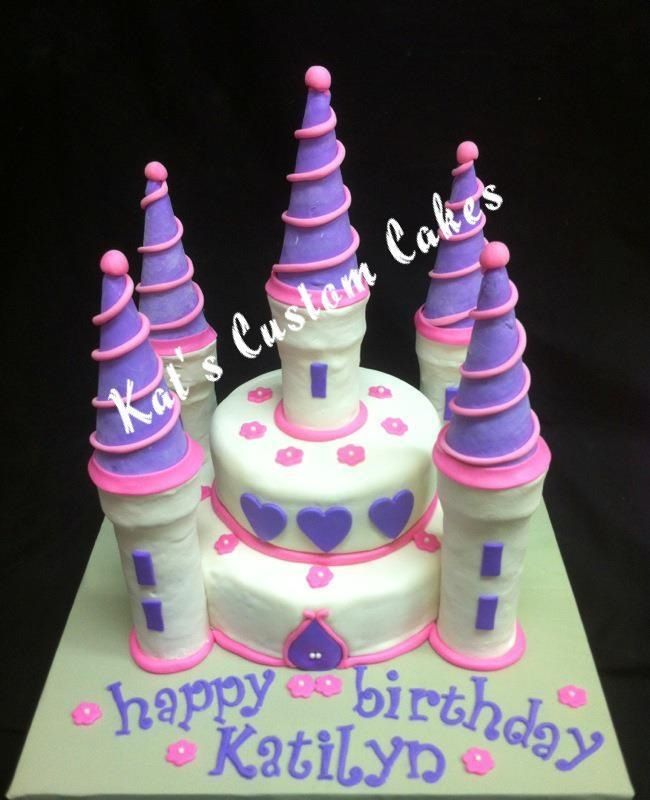 small pink and purple castle cake | girls birthday cakes