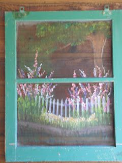Custom Painted Old Window Screen Garden Scene Painted For Mother S Day Painted Screen Doors Screen Painting Window Painting
