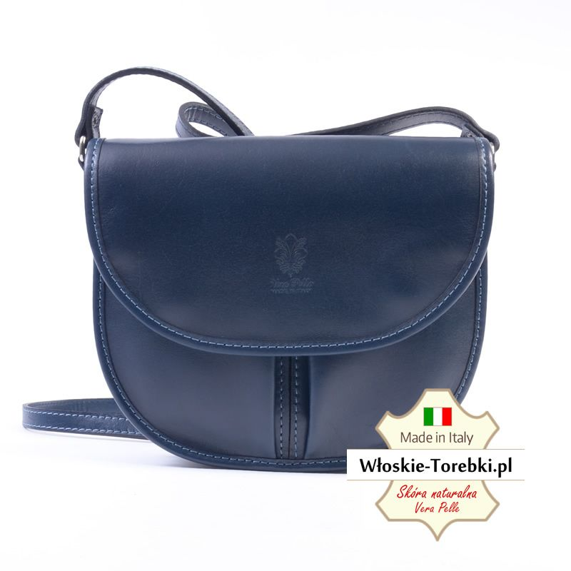 b3f2eee696651 Granatowa torebka damska ze skóry włoskiej - model Rosabelle na długim pasku
