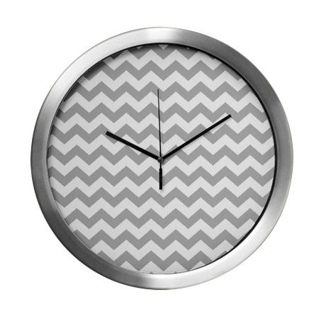 chevron pattern gray Modern Wall Clock