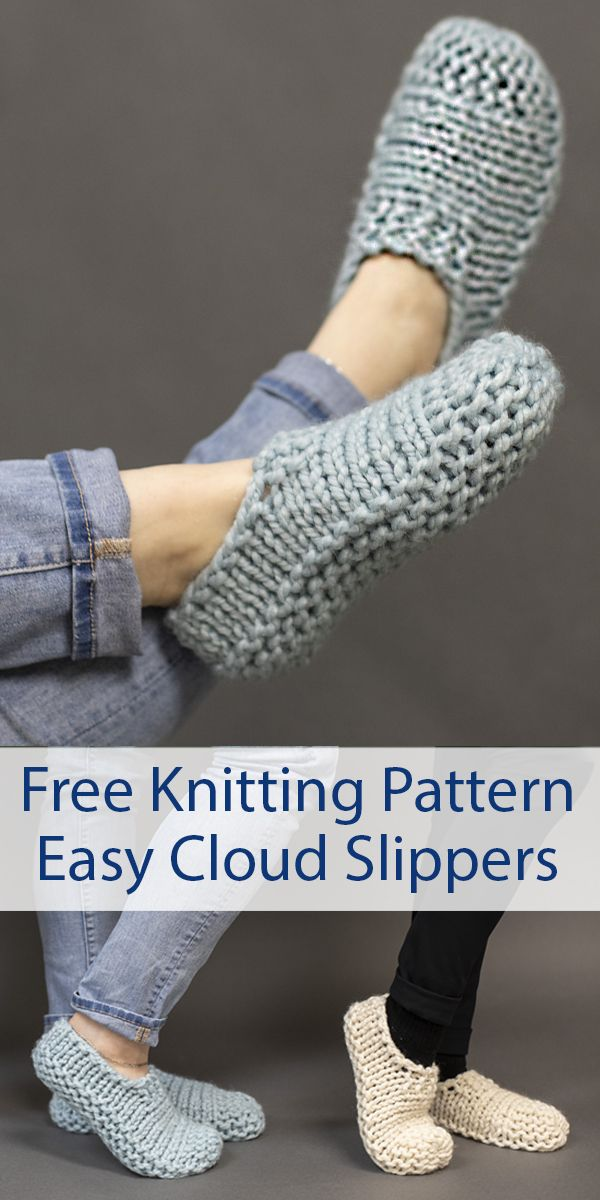 Free Knitting Pattern for Easy Cloud Slippers Knit Flat - Easy beginner slippers are knit flat in one piece, folded in half, and seamed from toe to heel. Quick knit in super bulky yarn and only takes one skein (55 - 90 yards / 50 - 82 m). Sizes Women's Small (5-7),Women's Medium (8-10), Men's Medium (8-10), Men's Large (11-13). Designed by Adrienne Sullivan. #footwear #knittingideas