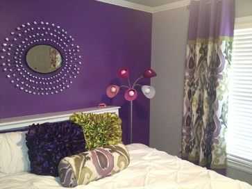 Grey Walls And Purple Accents Home Purple Accent Wall Design