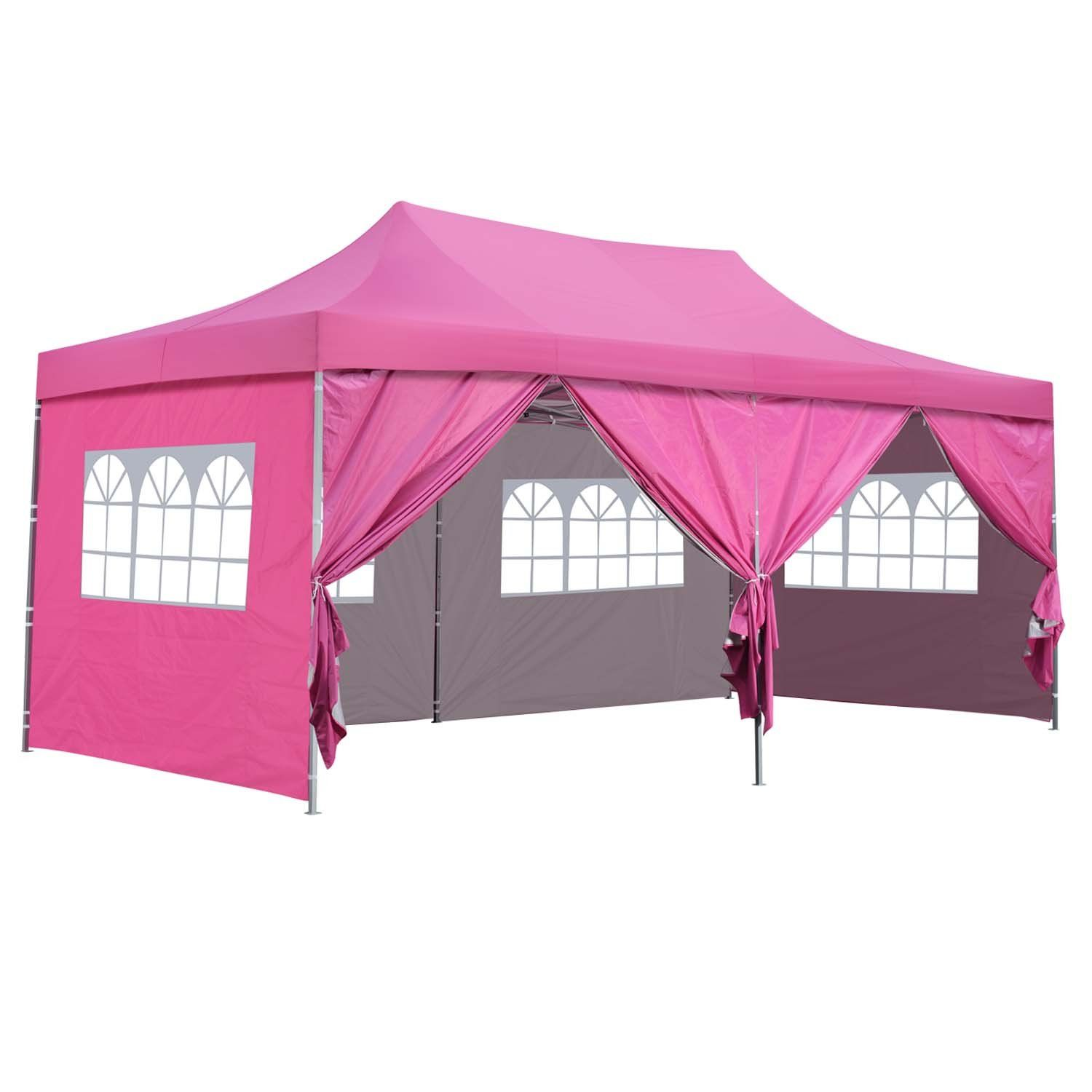 Outdoor Basic 10x20 Ft Pop Up Canopy Party Wedding Gazebo Tent Shelter With Removable Side Walls Pink 6 Walls More Info Co Gazebo Tent Gazebo Tent