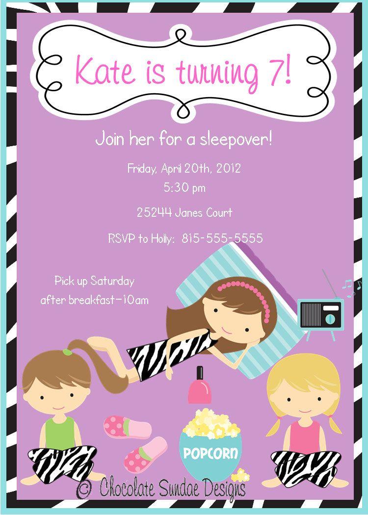 Girls Zebra Print Sleepover Pajama Party Printable Invitation ...