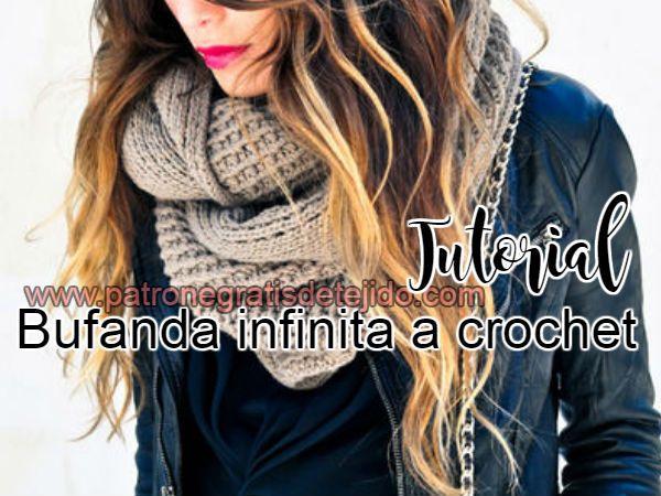 Como tejer bufanda infinita a crochet | CUELLOS | Pinterest | Como ...